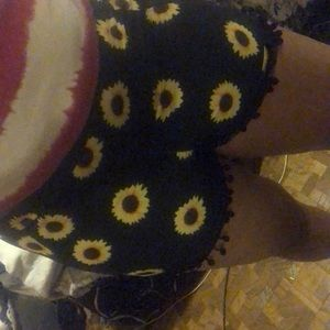 Pants - Black and yellow flower printed shorts